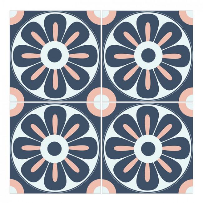 Bodenfliesenaufkleber 4er Set - Floral